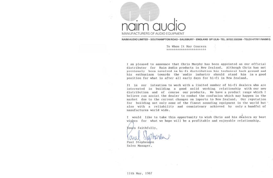 NADist Naim Letter