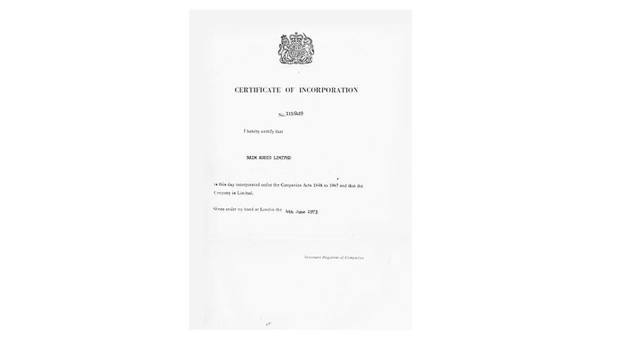 1973 Offizielle Gründung von Naim Audio